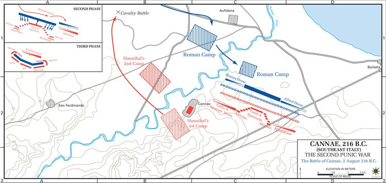Battle of Cannae Map of the Battle of Cannae 216 BC