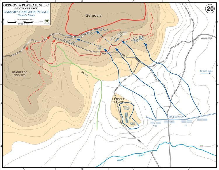 Battle of Gergovia Map of the Siege of Gergovia 52 BC 2