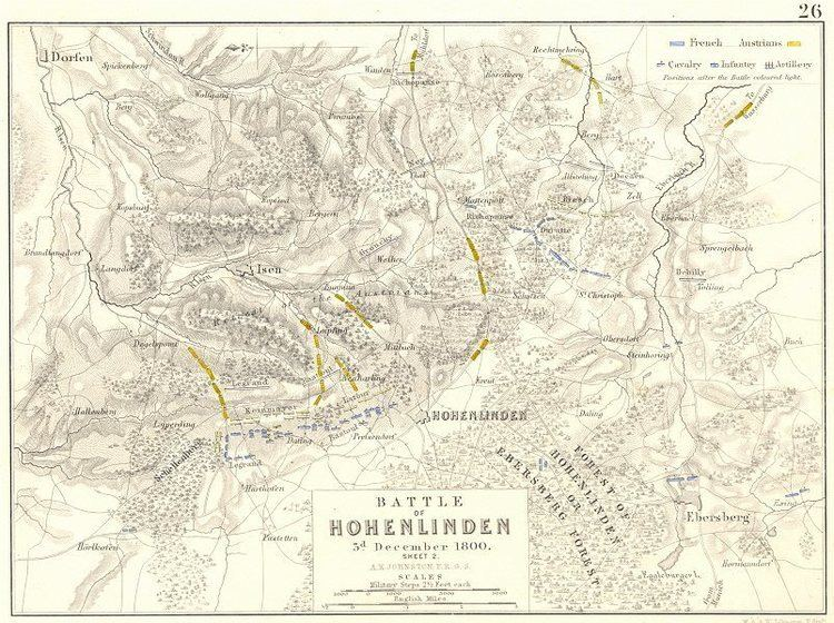 Battle of Hohenlinden BATTLE OF HOHENLINDEN 3rd December 1800 sheet 2 Germany 1848 map