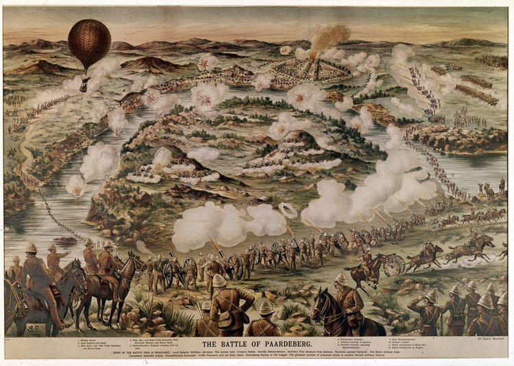 Battle of Paardeberg Birdseye view of the Battle of Paardeberg Online Collection