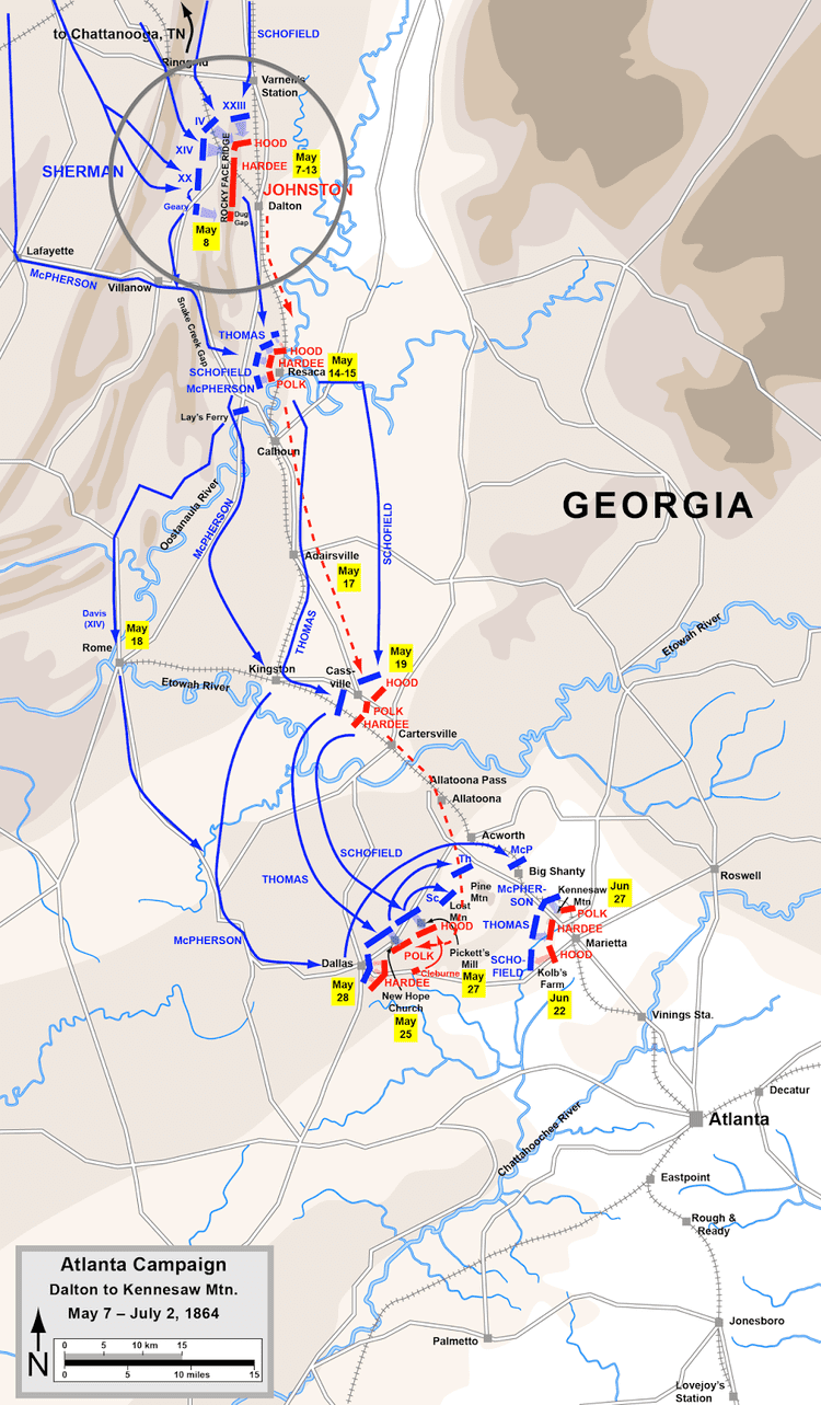 Battle of Rocky Face Ridge 32nd Mississippi Infantry at 150 Cleburne39s Division at the Battle