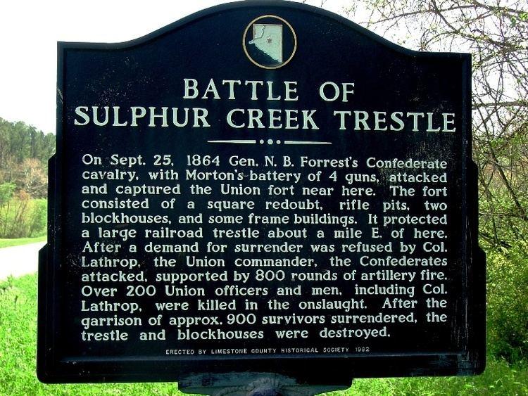 Battle of Sulphur Creek Trestle wwwmarkerlimestonecountyhistoricalsocietyorgas