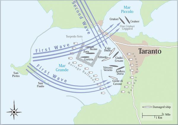 Battle of Taranto Map of Battle of Taranto 11th November 1940 Military History Monthly