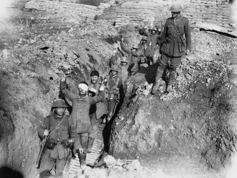 Battle of Thiepval Ridge German Prisoners are Escorted in from the Battlefield During the