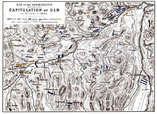 Battle of Ulm Map of Battle of Ulm Alison39s History of Europe Map Napoleonic