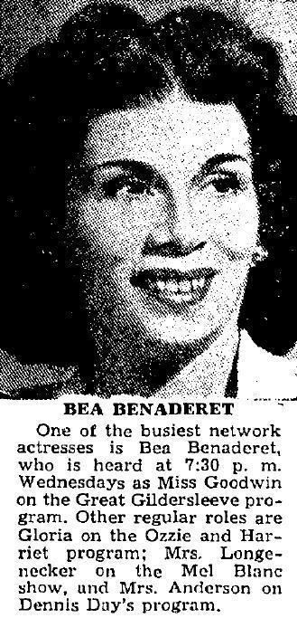 Bea Benaderet TV Sidekicks Bea Benaderets Blanche to Gracie Allens Gracie