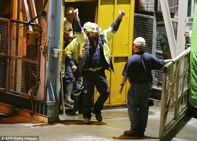 Beaconsfield Mine collapse Brant Webb and Todd Russell pictured in after being trapped in