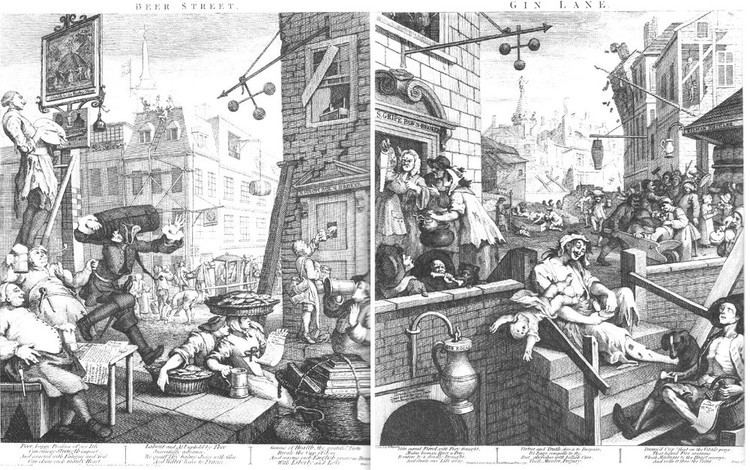 Beer Street and Gin Lane Michael Finney Antique Prints William Hogarth Beer Street and