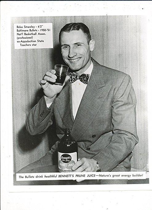 Belus Smawley 1950 Bennetts Prune Juice Belus Smawley Baltimore Bullets Basketball