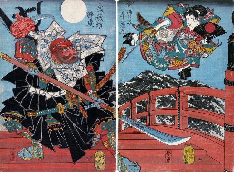 Benkei Yoshifuji Yoshitsune fighting Benkei on Gojo bridge