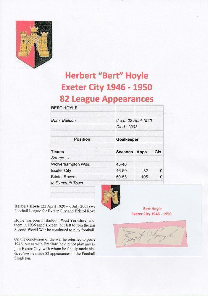 Bert Hoyle BERT HOYLE EXETER CITY 19461950 RARE ORIGINAL HAND SIGNED CUTTING