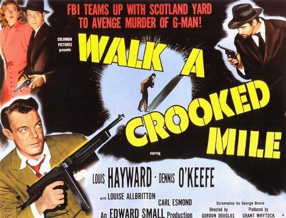 Bewitched (1945 film) movie scenes  booming voice of narrator Reed Hadley quickly identifies WALK A CROOKED MILE as an FBI procedural film in the style of THE HOUSE ON 92ND STREET 1945