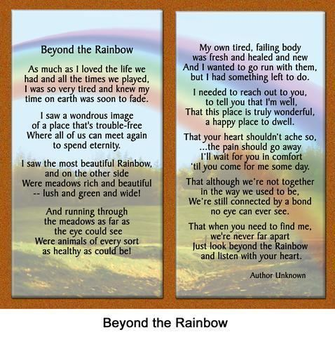 Beyond the Rainbow Pet Loss Poem Beyond the Rainbow Healing the Heart