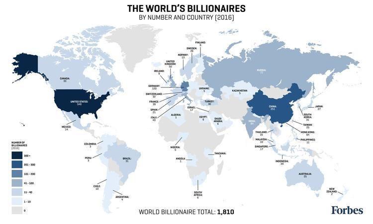 Billionaire Forbes Billionaires List Map 2016 Billionaire Population By Country