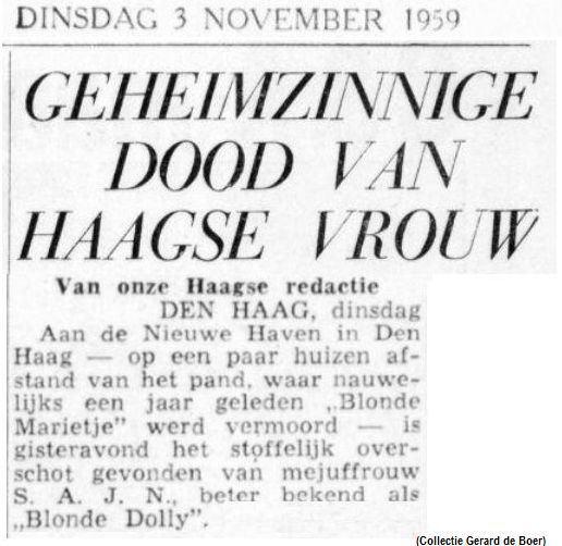 Blonde Dolly Paniek in politiek Den Haag na de moord op Blonde Dolly Gerard de
