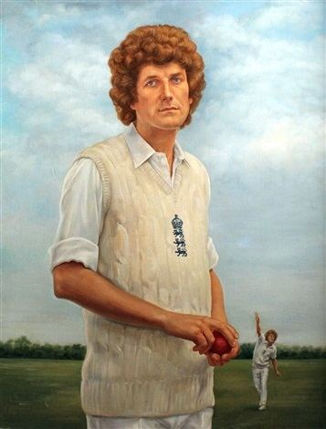 Three quarter length portrait of the cricketer Bob Willis Fast