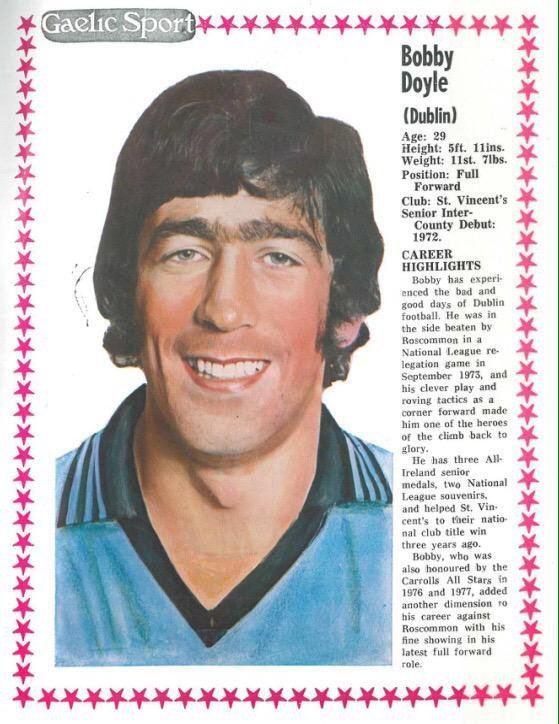 Bobby Doyle (Gaelic footballer) GAA Nostalgia on Twitter Gaelic Sport profile of Bobby Doyle