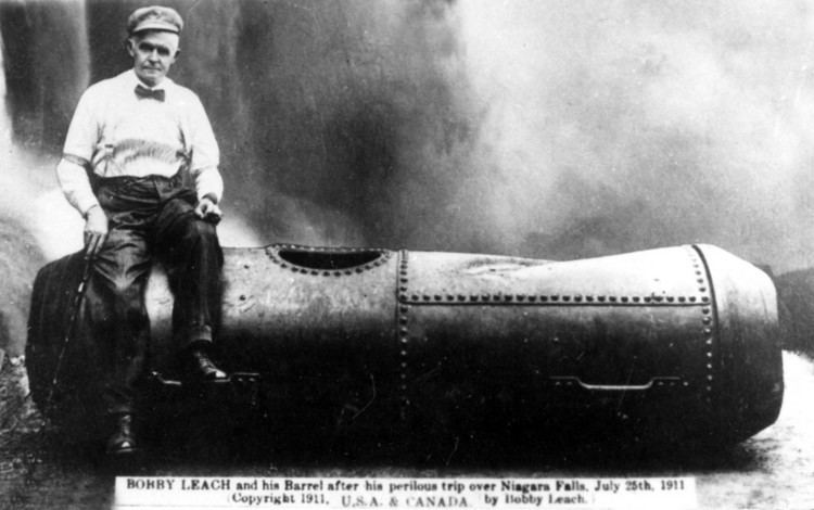 Bobby Leach Bobby Leach and his barrel after his perilous trip over