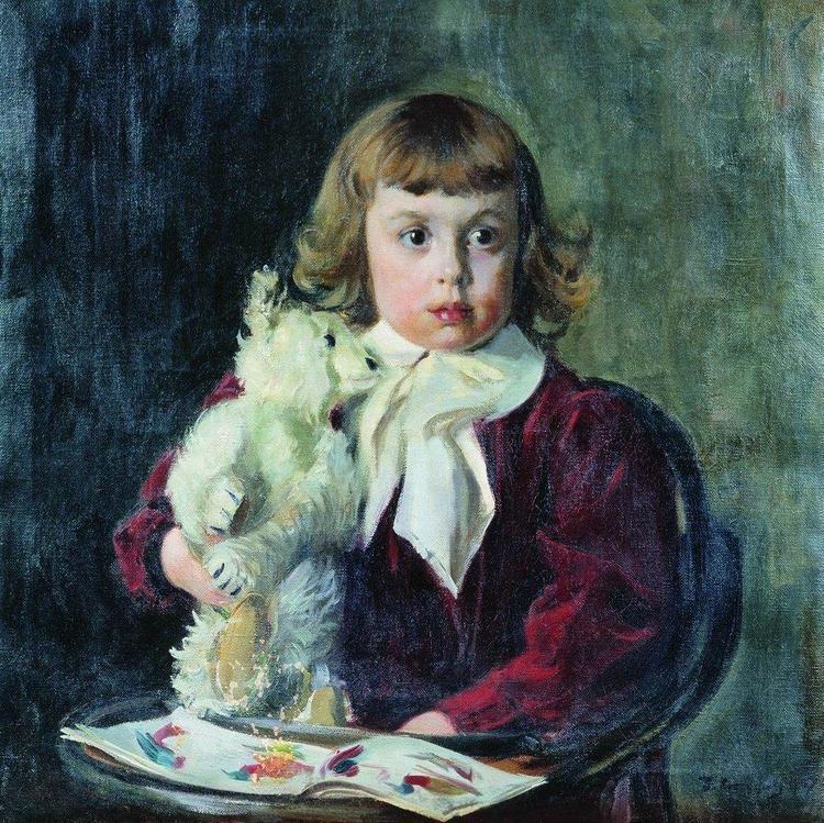Boris Kustodiev Boy with teddy bear Boris Kustodiev WikiArtorg