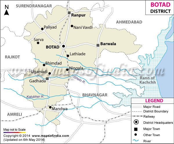 Botad district Botad District Map