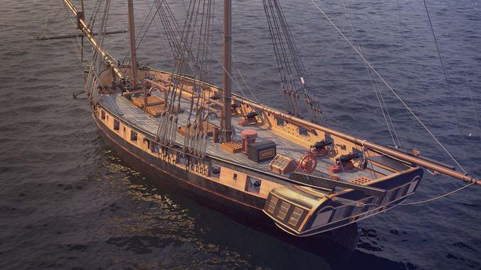 Brig Brig sail ship Exuberant 3D Model MAX CGTradercom