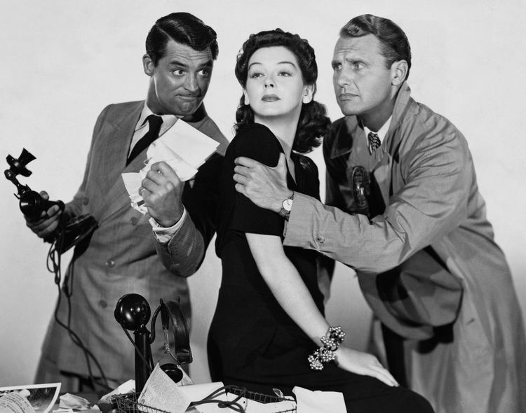 British Intelligence (film) movie scenes Cary Grant Rosalind Russell and Ralph Bellamy in His Girl Friday 1940
