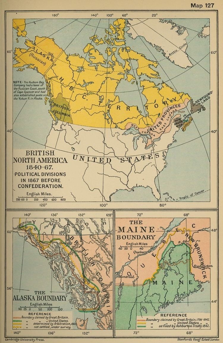 British North America Map of British North America 18401867