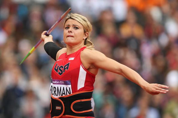 Brittany Borman Rocket launching javelin contest at Jerome Track Classic