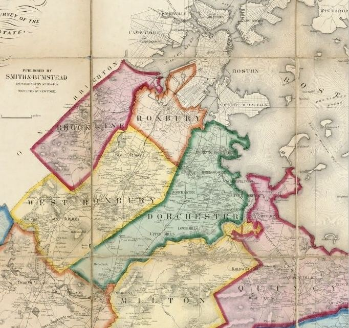 Brookline County movie scenes 1858 map of north central Norfolk County showing Brookline upper left along with Dorchester Roxbury and West Roxbury all three of which were later