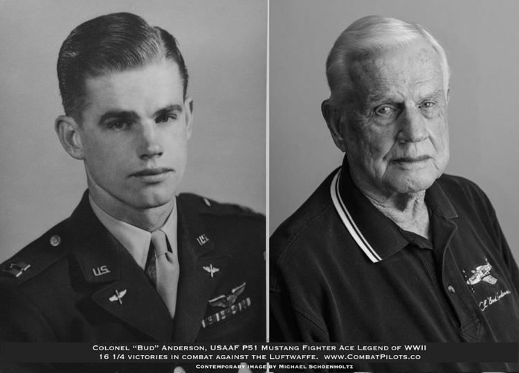 Bud Anderson Colonel Bud Anderson United States Fighter Ace Legend Then And Now