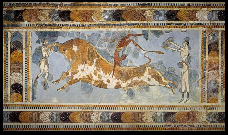 Bull-leaping Unknown Bullleaping ca 14501400 BC Fresco Late Minoan art