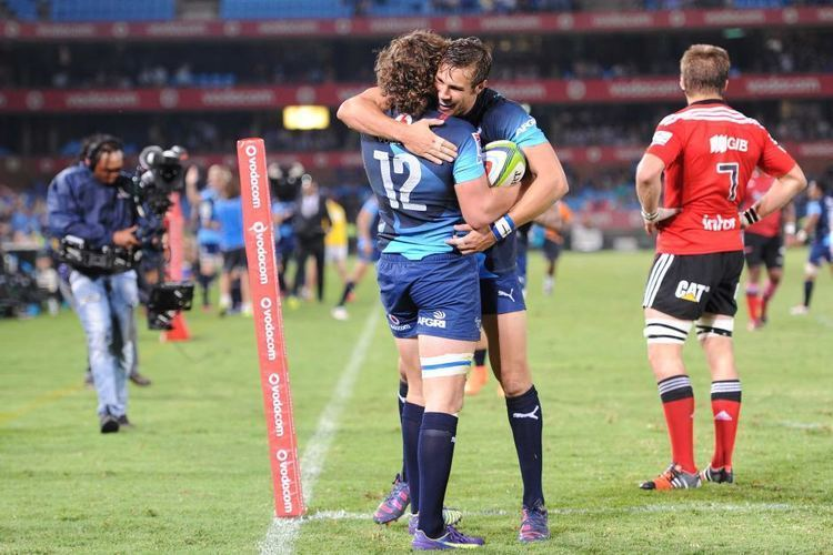 Burger Odendaal Burger Odendaal and JJ Engelbrecht celebrate a try for the