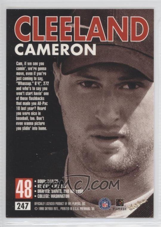 Cam Cleeland 1998 Skybox Premium 247 Cam Cleeland COMC Card