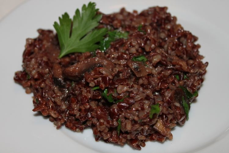 Camargue red rice Camargue Red Rice with Mushrooms Cooking in Tongues
