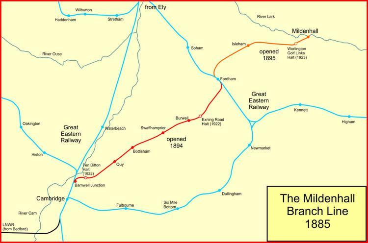 Cambridge to Mildenhall railway