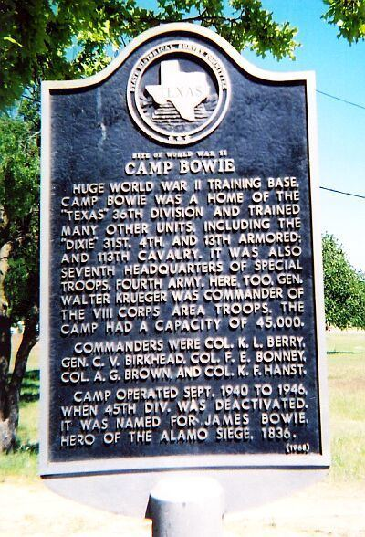 Camp Bowie Camp Bowie Army Base in Brownwood TX Complete info reviews map