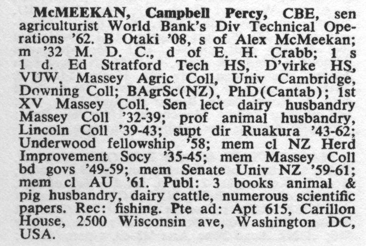 Campbell Percy McMeekan Campbell Percy McMeekan Biography 1971 Hawkes Bay Knowledge Bank