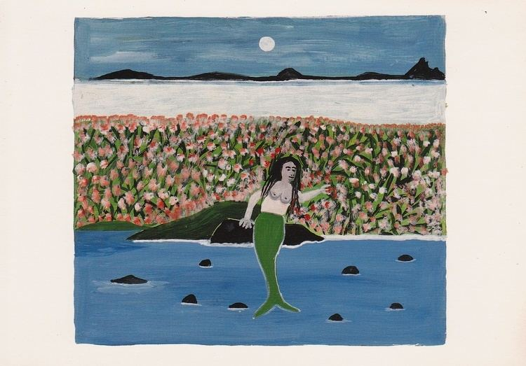 Canute Caliste Postcard of painting The Mermaid Resting in her Garden by