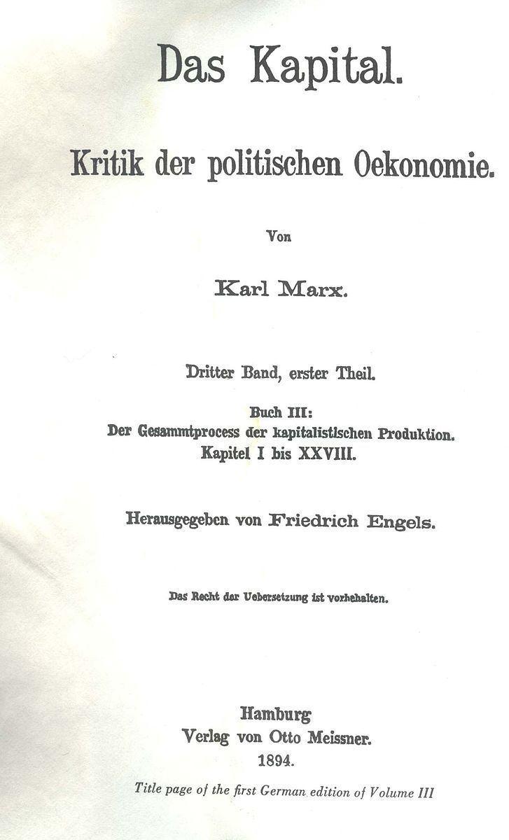 Capital, Volume III