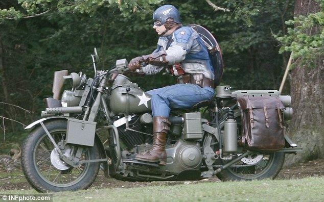 Captain India movie scenes Hero on a bike Scenes were being shot today in a leafy London location for the forthcoming movie Captain America The First Avenger seen here a stunt
