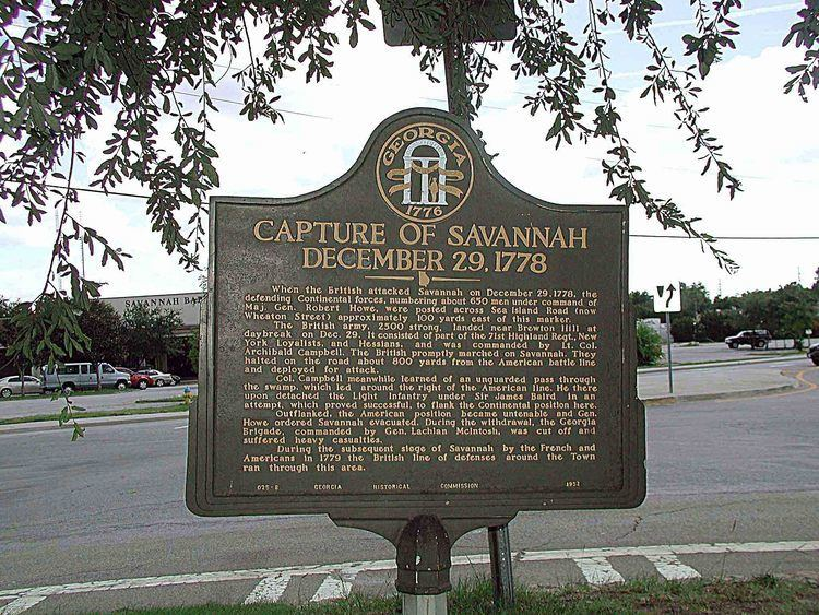 Capture of Savannah Capture of Savannah December 29 1778 Marker Historic Markers