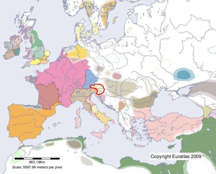 Carantania Euratlas Periodis Web Map of Carantania in Year 700