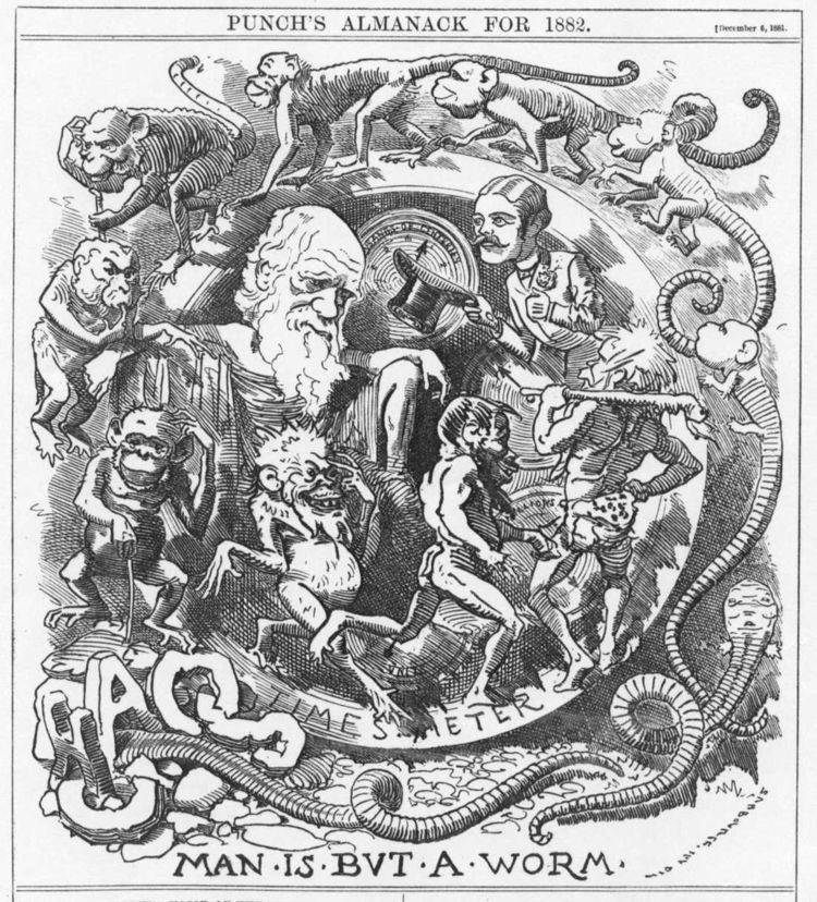 Caricatures of Charles Darwin and his evolutionary theory in 19th-century England