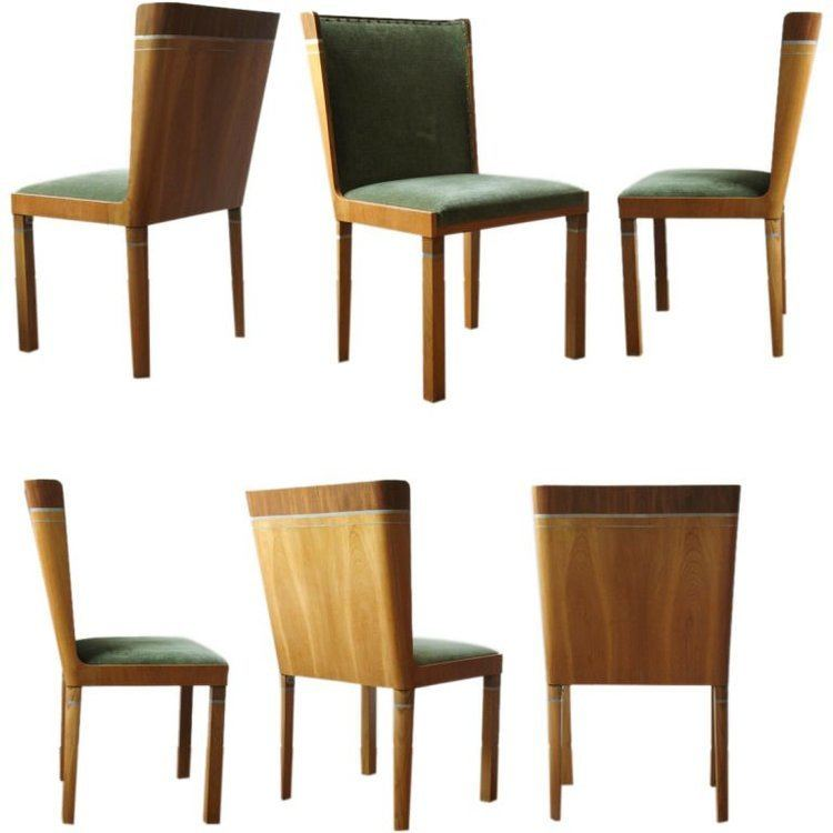 Carl Bergsten Rare set of 6 Swedish Art Deco dining chairs by Carl