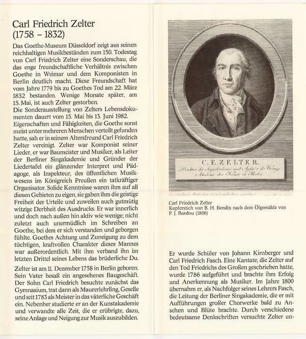 Carl Friedrich Zelter Das Goethezeitportal Blatt 30 Carl Friedrich Zelter zum