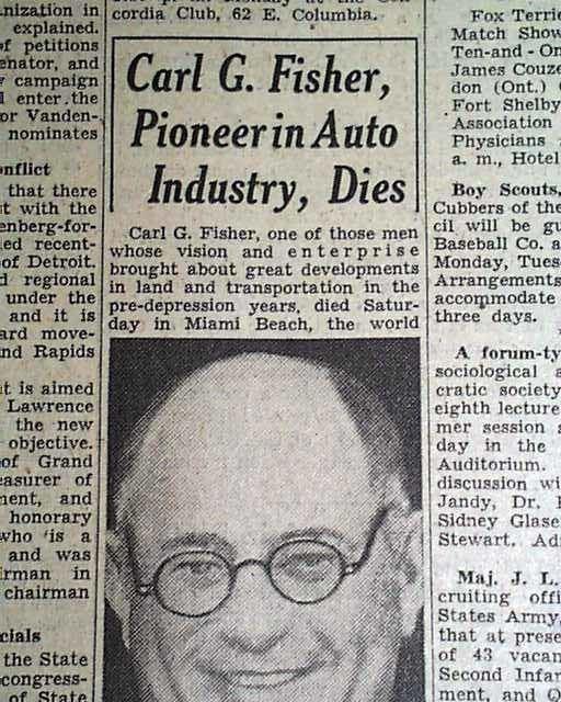 Carl G. Fisher Carl G Fisher Death 1939 RareNewspaperscom