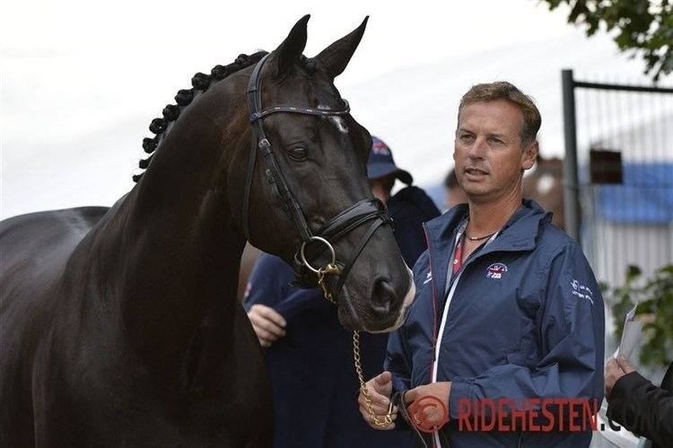 Carl Hester Carl Hester test rider at the DWB Young Horse Championship