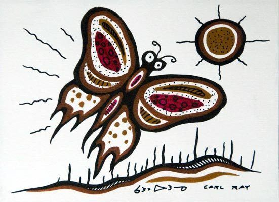 Carl Ray Butterfly In Sun by Carl Ray Native Art Gallery Red