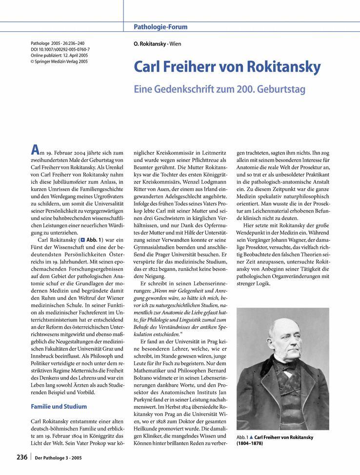 Carl von Rokitansky Carl Freiherr von Rokitansky Springer