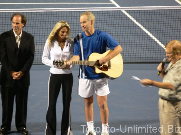 Carling Bassett-Seguso Carling BassetSeguso and John McEnroe being inducted to